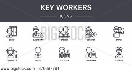 Key Workers Concept Line Icons Set. Contains Icons Usable For Web, Logo, Ui Ux Such As Electrician,