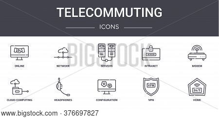 Telecommuting Concept Line Icons Set. Contains Icons Usable For Web, Logo, Ui Ux Such As Network, In
