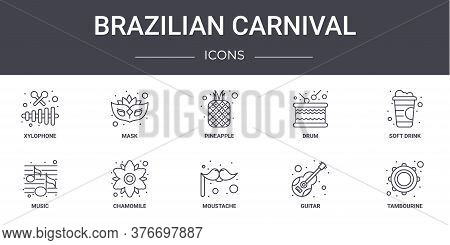 Brazilian Carnival Concept Line Icons Set. Contains Icons Usable For Web, Logo, Ui Ux Such As Mask,