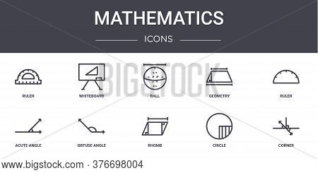 Mathematics Concept Line Icons Set. Contains Icons Usable For Web, Logo, Ui Ux Such As Whiteboard, G