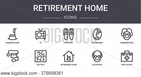 Retirement Home Concept Line Icons Set. Contains Icons Usable For Web, Logo, Ui Ux Such As Tv, Old W