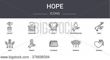Hope Concept Line Icons Set. Contains Icons Usable For Web, Logo, Ui Ux Such As Donation, Blood Dona