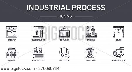 Industrial Process Concept Line Icons Set. Contains Icons Usable For Web, Logo, Ui Ux Such As Drilli