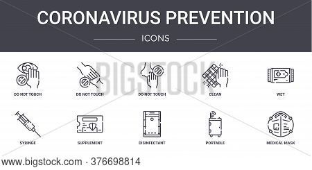 Coronavirus Prevention Concept Line Icons Set. Contains Icons Usable For Web, Logo, Ui Ux Such As Do
