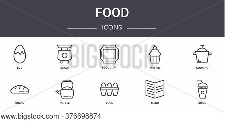 Food Concept Line Icons Set. Contains Icons Usable For Web, Logo, Ui Ux Such As Scale, Muffin, Bread