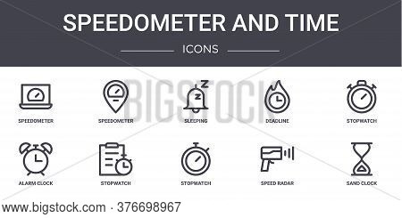 Speedometer And Time Concept Line Icons Set. Contains Icons Usable For Web, Logo, Ui Ux Such As Spee