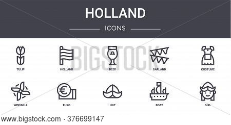 Holland Concept Line Icons Set. Contains Icons Usable For Web, Logo, Ui Ux Such As Holland, Garland,