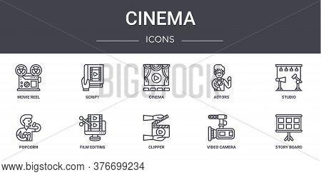 Cinema Concept Line Icons Set. Contains Icons Usable For Web, Logo, Ui Ux Such As Script, Actors, Po
