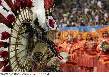 Rio, Brazil - February 23, 2020: Parade Of The Samba School Estacio De Sa, At The Marques De Sapucai