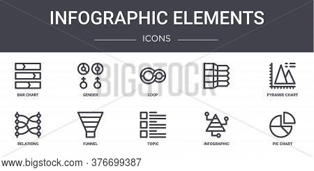 Infographic Elements Concept Line Icons Set. Contains Icons Usable For Web, Logo, Ui Ux Such As Gend