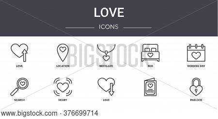 Love Concept Line Icons Set. Contains Icons Usable For Web, Logo, Ui Ux Such As Location, Bed, Searc
