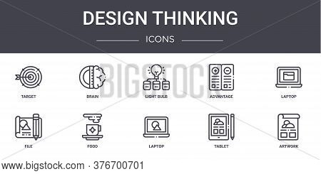 Design Thinking Concept Line Icons Set. Contains Icons Usable For Web, Logo, Ui Ux Such As Brain, Ad