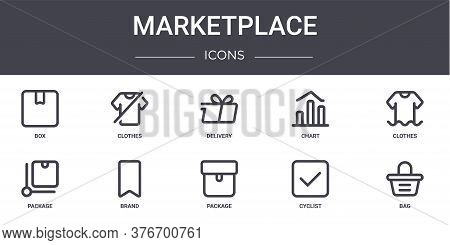 Marketplace Concept Line Icons Set. Contains Icons Usable For Web, Logo, Ui Ux Such As Clothes, Char
