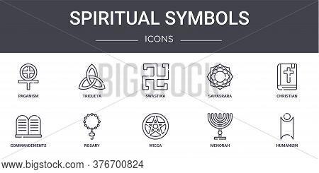 Spiritual Symbols Concept Line Icons Set. Contains Icons Usable For Web, Logo, Ui Ux Such As Triquet