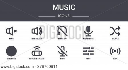 Music Concept Line Icons Set. Contains Icons Usable For Web, Logo, Ui Ux Such As High Volume, Microp