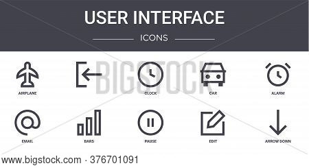 User Interface Concept Line Icons Set. Contains Icons Usable For Web, Logo, Ui Ux Such As , Car, Ema