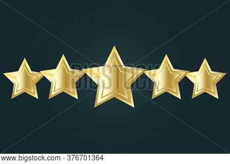 Vector Icon Of Five Stars. Golden 3d Quality Logo. Illustration Of The Best Service And Maintenance.