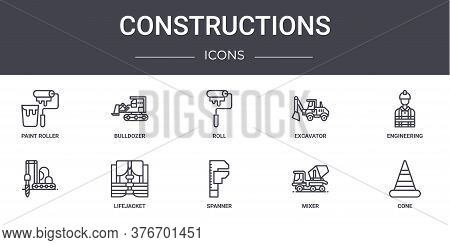 Constructions Concept Line Icons Set. Contains Icons Usable For Web, Logo, Ui Ux Such As Bulldozer,