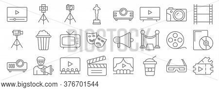 Cinema Line Icons. Linear Set. Quality Vector Line Set Such As Tickets, Soda, Clapperboard, Projecto