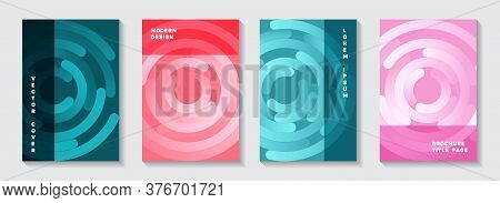 Business Notebook Covers Mockups. Trendy Poster Concentric Elements Motion Vector Backgrounds. Aim G