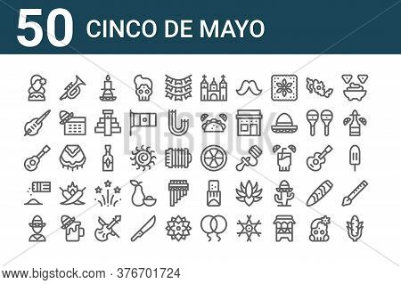 Set Of 50 Cinco De Mayo Icons. Outline Thin Line Icons Such As Corn, Mexican, Salt And Pepper, Jaran