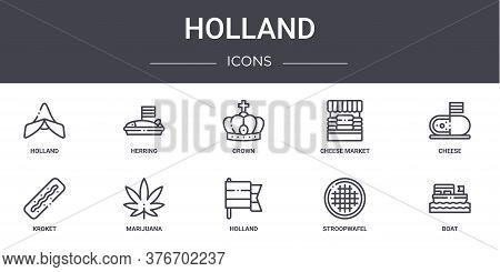 Holland Concept Line Icons Set. Contains Icons Usable For Web, Logo, Ui Ux Such As Herring, Cheese M