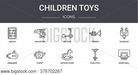 Children Toys Concept Line Icons Set. Contains Icons Usable For Web, Logo, Ui Ux Such As Helicopter,