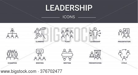 Leadership Concept Line Icons Set. Contains Icons Usable For Web, Logo, Ui Ux Such As Climbing, Lead