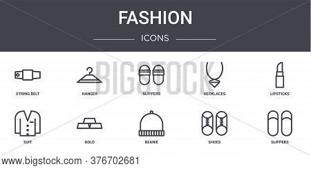 Fashion Concept Line Icons Set. Contains Icons Usable For Web, Logo, Ui Ux Such As Hanger, Necklaces