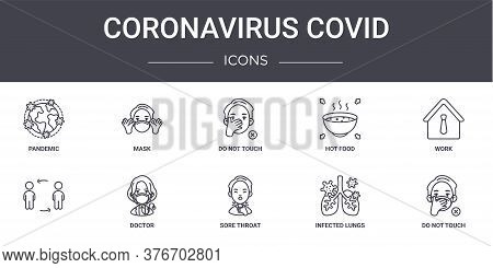 Coronavirus Covid Concept Line Icons Set. Contains Icons Usable For Web, Logo, Ui Ux Such As Mask, H