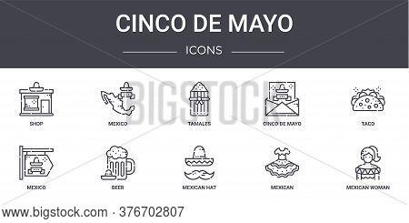 Cinco De Mayo Concept Line Icons Set. Contains Icons Usable For Web, Logo, Ui Ux Such As Mexico, Cin