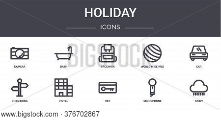 Holiday Concept Line Icons Set. Contains Icons Usable For Web, Logo, Ui Ux Such As Bath, World Wide