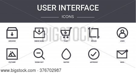 User Interface Concept Line Icons Set. Contains Icons Usable For Web, Logo, Ui Ux Such As Inbox Mail