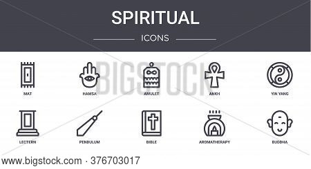Spiritual Concept Line Icons Set. Contains Icons Usable For Web, Logo, Ui Ux Such As Hamsa, Ankh, Le