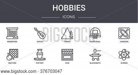 Hobbies Concept Line Icons Set. Contains Icons Usable For Web, Logo, Ui Ux Such As Guitar, Basketbal