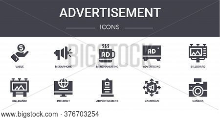 Advertisement Concept Line Icons Set. Contains Icons Usable For Web, Logo, Ui Ux Such As Megaphone,