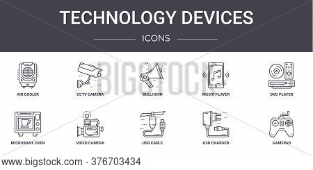 Technology Devices Concept Line Icons Set. Contains Icons Usable For Web, Logo, Ui Ux Such As Cctv C