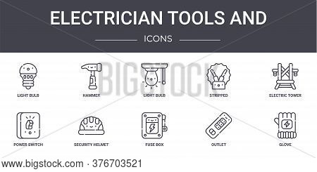 Electrician Tools And Concept Line Icons Set. Contains Icons Usable For Web, Logo, Ui Ux Such As Ham