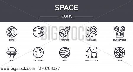 Space Concept Line Icons Set. Contains Icons Usable For Web, Logo, Ui Ux Such As , Research, Ufo, Ju