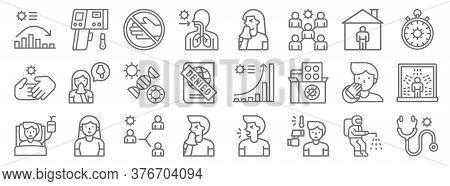 Covid Virus Pandemic Line Icons. Linear Set. Quality Vector Line Set Such As Stethoscope, Fever, Sne