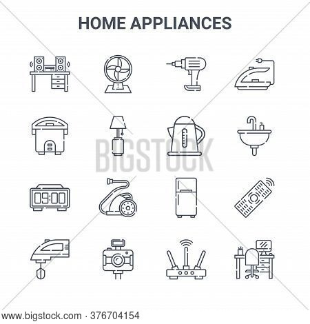 Set Of 16 Home Appliances Concept Vector Line Icons. 64x64 Thin Stroke Icons Such As Fan, Rice Cooke