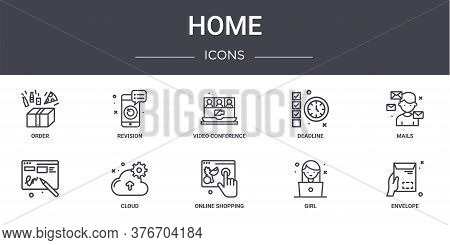 Home Concept Line Icons Set. Contains Icons Usable For Web, Logo, Ui Ux Such As Revision, Deadline,