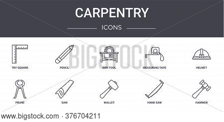 Carpentry Concept Line Icons Set. Contains Icons Usable For Web, Logo, Ui Ux Such As Pencil, Measuri