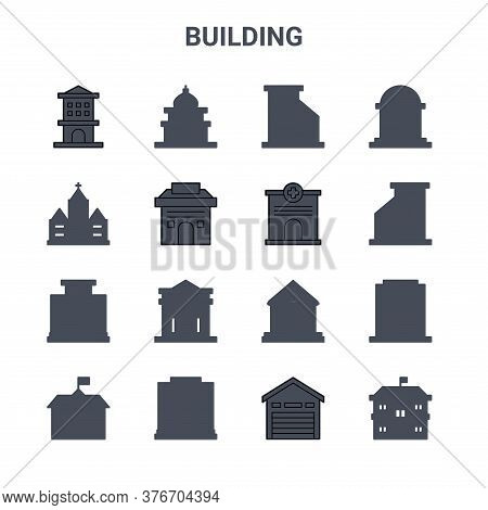 Set Of 16 Building Concept Vector Line Icons. 64x64 Thin Stroke Icons Such As Mosque, Church, Apartm