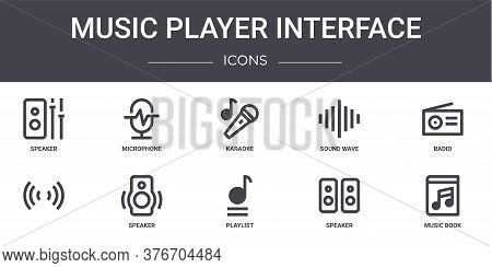 Music Player Interface Concept Line Icons Set. Contains Icons Usable For Web, Logo, Ui Ux Such As Mi