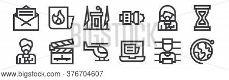 12 Set Of Linear News Icons. Thin Outline Icons Such As Worldwide, Laptop, Clapperboard, Reporter, T