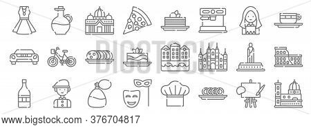 Italy Line Icons. Linear Set. Quality Vector Line Set Such As Florence, Taralli, Mask, Wine, Statue,