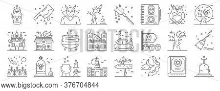 Spooky Halloween Line Icons. Linear Set. Quality Vector Line Set Such As Graveyard, Night, Haunted H