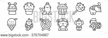 12 Set Of Linear Circus Icons. Thin Outline Icons Such As Drum, Fortune Teller, Trapeze Artist, Cara