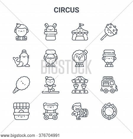 Set Of 16 Circus Concept Vector Line Icons. 64x64 Thin Stroke Icons Such As Rabbit, Seal, Showman, C